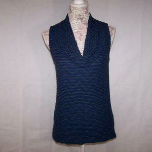 Deletta Shirt Top Cowl Neck Sleeveless Textured